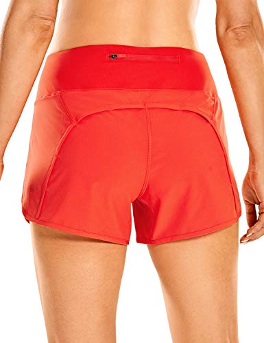 CRZ YOGA Women's Quick-Dry Athletic Sports Running Workout Shorts with Zip Pocket - 4 Inches Poppy 4''-R403 Large