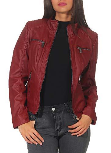 Malito Mujer Chaqueta Cuero Sintético Biker Chaqueta Saco Blazer 5179 (Rojo, S)