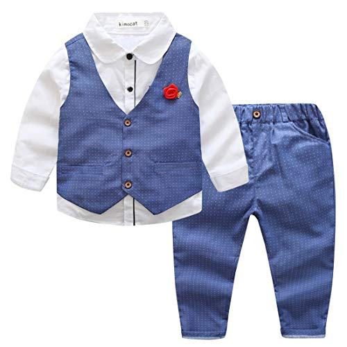 Kimocat - Traje Formal de Algodón para Bebé Niño Elegante con Cintura Elástica Conjunto de Boda Fiesta Ceremonia Bautizo con Flor de Pecho - Azul - 2-3 Años