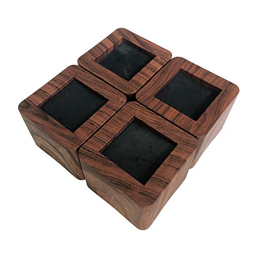 MIIX HOOM/elevadores de cama de 3 pulgadas | elevador de muebles de madera resistente | 4 piezas | elevadores de sofá o mesa de color marrón oscuro (color madera oscura/color chocolate)