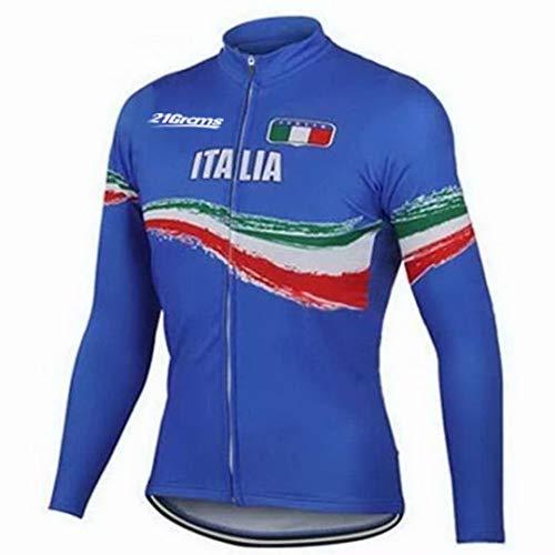 WAZA Italia Bandiera Nazionale Uomo Manica Lunga Ciclismo Jersey Italia Bandiera Nazionale Bici Da Strada Ciclismo Blu XXL
