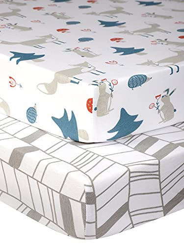 Pack n Play Sheets with Fox Pattern - 100% Organic Cotton Pack n Play Fitted Sheet - Cozy Mini Pack and Play Sheets - Pickle & Pumpkin Sheet Compatible as Graco Pack n Play Sheet & Mini Crib Sheets