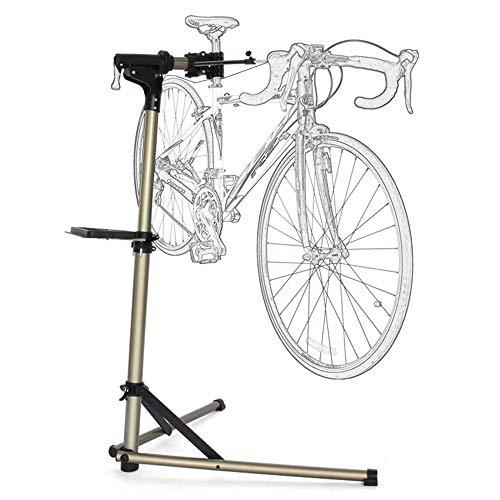 Soporte de reparación de bicicletas - Soporte de trabajo plegable para mecánicos de bicicletas con bandeja de herramientas, altura ajustable, soporte de taller para bicicletas de carretera y montaña