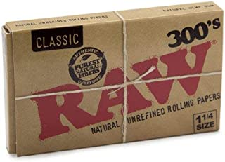 Raw 300 Classic 1.25 1 1/4 Size Rolling Papers 1 Pack = 300 Leaves