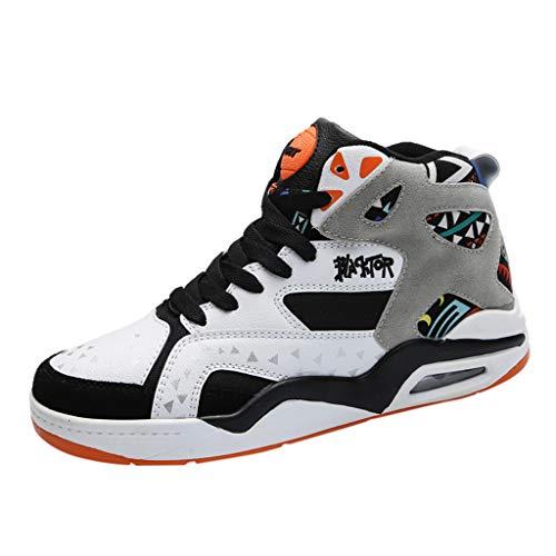 Zapatillas de Deporte Transpirables con Parte Superior de Malla de Yvelands para Hombre Zapatillas de Deporte de Hip-Hop con cojín de Aire(Blanco,46)