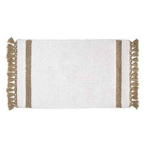 Price comparison product image iDesign Stripe Fringe Bathroom Mat,  Rectangle-Shaped Small Rug Made of Cotton,  White and Beige,  53.3 cm x 86.4 cm