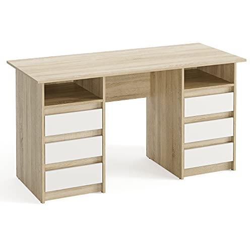 KOMTO Oslo - Escritorio con cajones - Mesa de oficina, mesa de trabajo, mesa para niños, con espacio de almacenamiento | Moderno escritorio de roble Sonoma + blanco | 140 x 60 x 74 cm