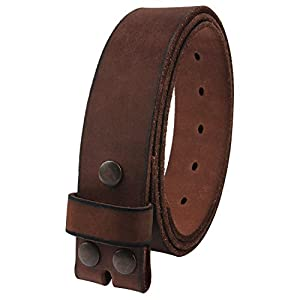 """NPET Mens Leather Belt Full Grain Vintage Distressed Style Snap on Strap 1 1/2"""" Wide Coffee 32""""-34"""""""