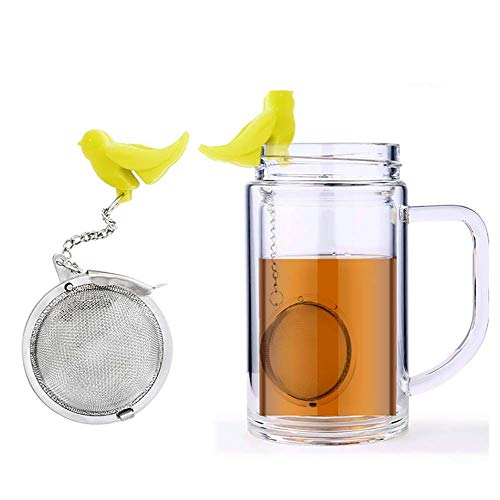 2 Pcs Stainless Steel Mesh Tea Ball Tea Infuser Strainers Filters Tea Interval Diffuser for Loose Leaf Upgrades Silicone Hook Seasoning Spice Balls Reusable