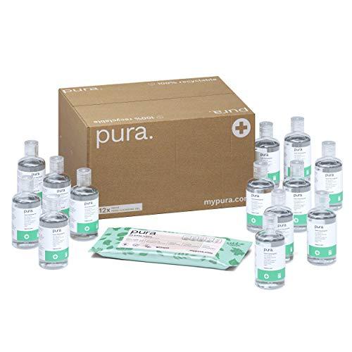 Pura HS-12 - Gel Desinfectante para Manos (Paquete de 12 Botellas 100 ml) Antibacteriano, Elimina Bacterias y Gérmenes, 70% Alcohol, aroma Hierba de Limón, con Paquete de 24 Toallitas de manos Pura