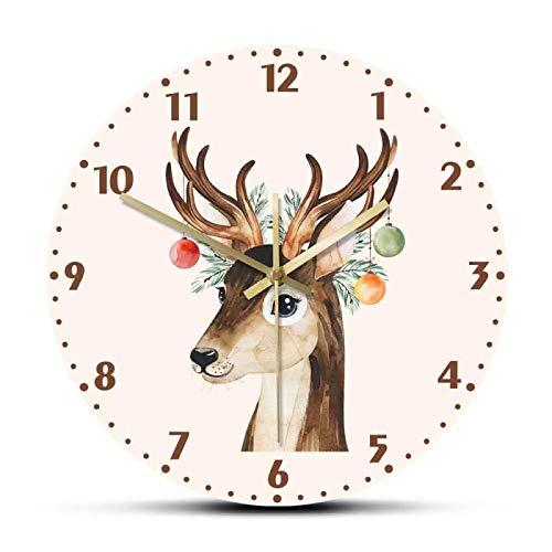 Reloj de Pared Composición de Invierno con Ramas de coníferas Juguetes y Ciervos Lindos Reloj de acrílico Impreso para Colgar en la Pared Nuevo Reloj de Arte de Pared de Moda nórdica