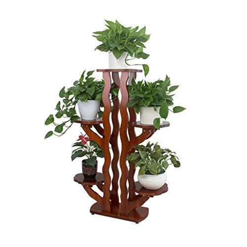 Support pour étagère Rangement échelle de Plantes Présentoir pour Fleurs Support pour Plante en Bois antiseptique Forme intérieure et extérieure pour Arbre 5 Plateaux Taille 48x24x116 cm