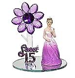 Mis Quince Anos Purple Sweet 15 Motive Purple Acrylic Flower with Figurine Favor Gift Keepsake