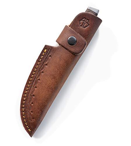 Angus Stoke Funda para cuchillos de piel de alta calidad para caza, ocio y cocina – Funda para cinturón extra gruesa de piel y seguridad – Funda John (marrón)