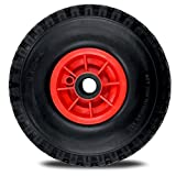 Sackkarrenrad Vollgummi 3.00-4 Ø 260 mm pannensicher Ersatzrad Bollerwagenreifen Sackkarre PU Reifen Bollerwagenrad rot/schwarz (20x85 mm)