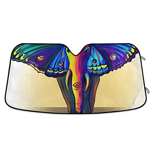 Elephant Ears Butterfly Wings Rainbow Colorful Car Front Windshield Sun Shade, Blocks Heat And Sun Visor Protector,keeps Your Vehicle Cool,accordion Folding Auto Sunshade For Car Truck Suv-5 X 27.6