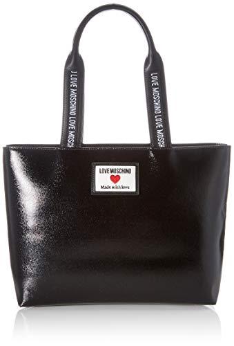 Love Moschino Precollezione ss21, Borsa Shopper da Donna, Sporty Label, Nero, Normal