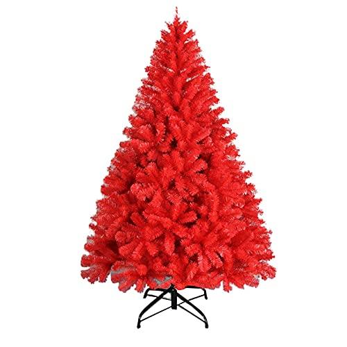 Deluxe Spruce Árbol de Navidad Rojo con bisagras Árbol de Pino con Soporte de Metal Fácil Montaje para decoración de Interiores y Exteriores, Árbol de Navidad Artificial de Vacaciones sin il