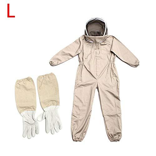 QUUY geventileerd imkerpak van katoen met handschoenen, afneembare sjaal en hoofddoek, volledige body bij beschermende kleding met afneembare sluiercapuchon, elastische band en enkels