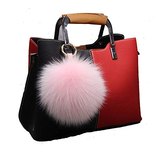 LvBo Large Genuine Fox Fur Pom Pom Keychain Bag Charm