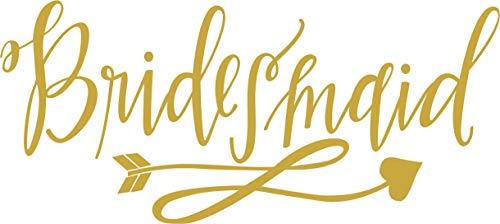 Bridesmaid - Bachelorette Heat Transfer Iron on Stencils for Wedding (Gold)