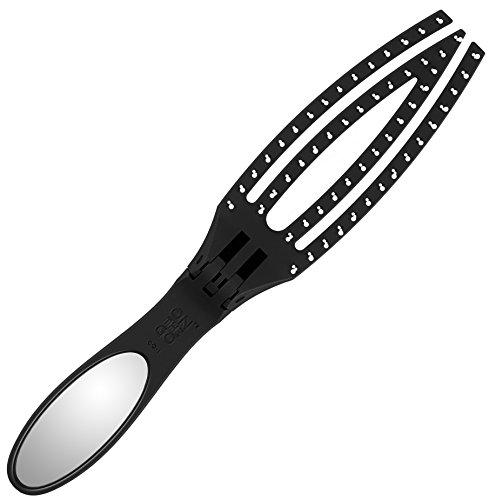 Olivia Garden Klapp- Haarbürste Fingerbrush On The Go Detangle & Style, Massage- und Entwirrungsbürste für unterwegs oder als Reisehaarbürste, mit integriertem Spiegel , antistatische Nylonborsten