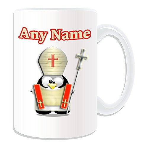 UNIGIFT gepersonaliseerd geschenk - grote bisschop mok (Penguin in kostuum ontwerp wit) Naam boodschap Unieke dom grappige noviteit wereld paus rooms-katholieke kerk christelijke Mitre