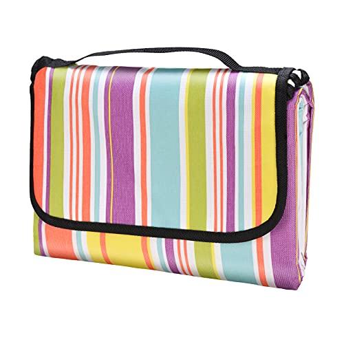 Oziral Picknickdecke 200x200cm, Picknickdecke Wasserdicht hergestellt aus Verschlüsseln 600 Oxford Stoff und PVC Schicht, Picknickdecke für Reisen, Picknick, Camping(Regenbogenfarben)