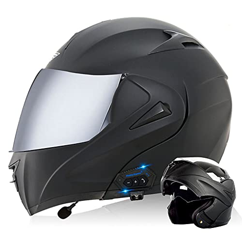 RTGE Casco Integral de Motocicleta Bluetooth Certificado ECE/Dot Cascos Modular abatible para Moto con película antivaho de Doble Lente para Viajes de Adultos a la Ciudad (Negro Mate),D,61~62cm XL