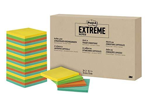Post-it Extreme Notes - Selbstklebende Haftnotizen (76 mm x 76 mm) 24 Blöcke à 45 Klebezettel gelb, grün, orange, türkis