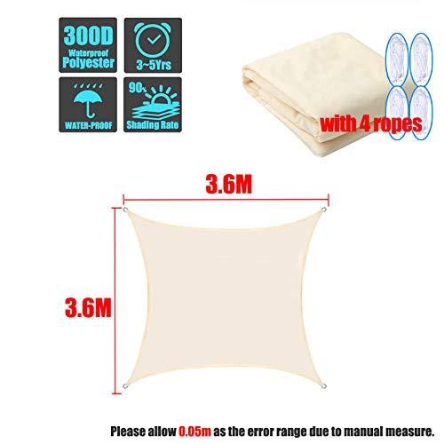 Toldos al Aire Libre A Prueba de Agua Refugio Solar Cuadrado Rectángulo Protección de la sombrilla Toldo al Aire Libre Jardín Patio Piscina Sombra Vela Camping-3.6x3.6m