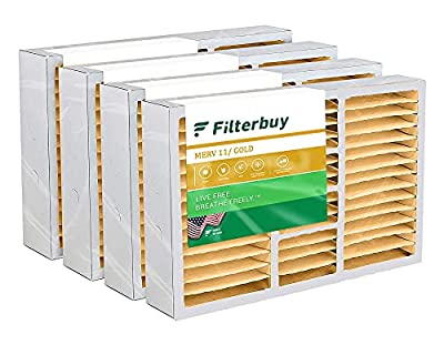 FilterBuy 16x25x5 Air Filter MERV 11, Pleated Replacement HVAC AC Furnace Filters for Honeywell, Air Kontrol, Bryant, Carrier, Day & Night, Lennox, and Payne (4-Pack, Gold)