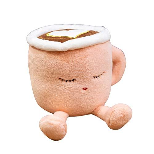 Taza de Café de Peluche, Juguetes de Peluche, Café Lindo y Cálido Cup Pillow Sofá Respaldo Peluches para Niños y Amantes de los Peluches (Rosa, 20 cm)