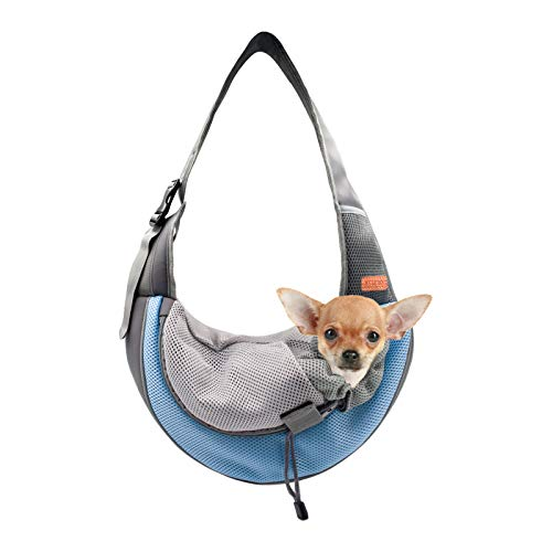 BELPRO Pet Sling Carrier (New Upgrade) for Small Dogs, Cats and Puppies, Breathable Mesh Pet Front Hands-Free Bag with Adjustable Shoulder Strap for Outdoor and Travel(Sky Blue, S(UP to 5LBS))