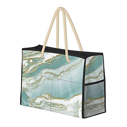 Bolsas de playa para mujer de mármol, turquesa, verde azulado y dorado, bolsa de viaje, bolsa de almacenamiento, bolsa de semana, bolsa de hombro, para playa, viajes, gimnasio