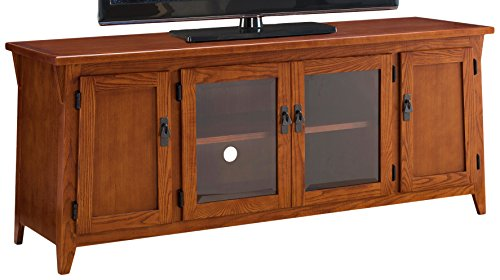 Leick Contemporary Canted Side Mission Oak 60' Four Door TV Console