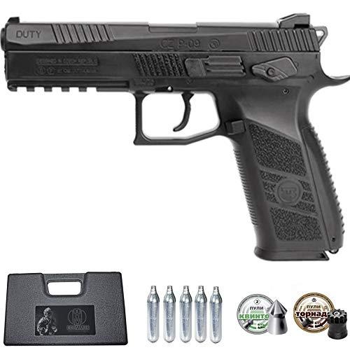Ecommur. CZ P-09 blowback-ASG Negra | Pistola de Aire comprimido y perdigones semiautomática 4,5mm + maletín + 2 Cajas de balines y CO2