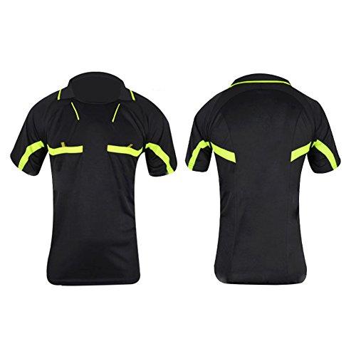 TOHHOT Atmungsaktives, Schnelltrocknendes Fußballbekleidung-Set Kurzarm-T-Shirt Shorts Schiedsrichter-Kleidung Professionelles Fußballspiel-Trikot Umgedrehter Kragen Sportbekleidung Black XL