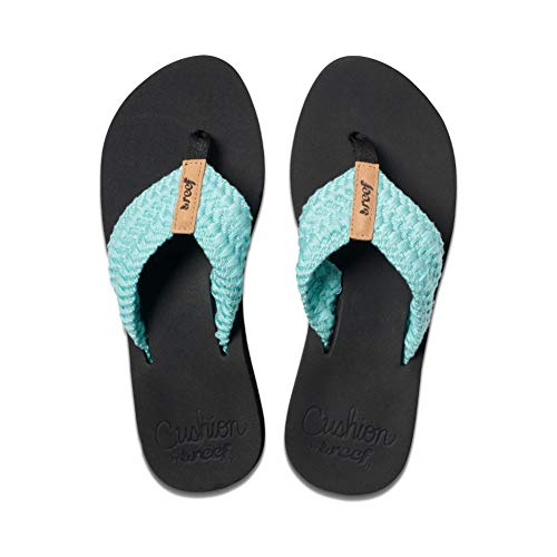 Reef Women's Cushion Threads Sandal, Aqua, 5