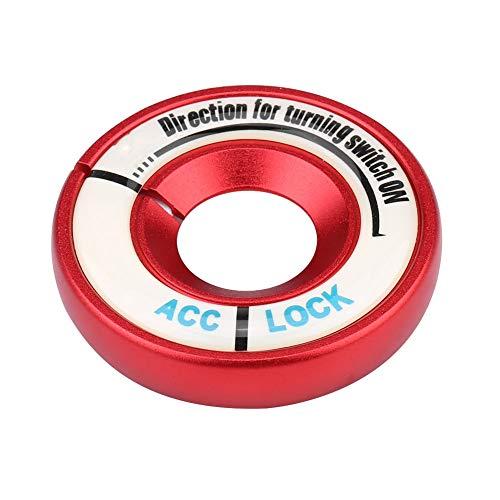 Ajuste del Interruptor de Encendido, Anillo del Interruptor de Encendido Luminoso del Coche, Ajuste de la Cubierta del Agujero de la Llave del círculo para A1 / A3 / A4 / S3 / TT/Tiguan(Rojo)