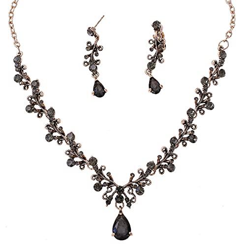 Conjunto De Accesorios De Tocado De Corona De Boda De Joyería De Collar De Pendientes De Circón De Diamantes De Imitación