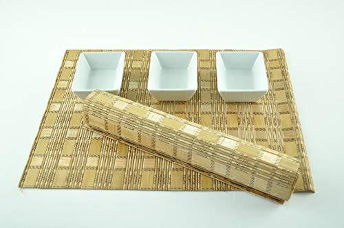 CP008 Lot de 4 sets de table rectangulaires en bois de bambou de qualité supérieure respectueux de l'environnement Marron clair