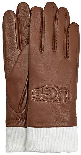 UGG Womens Knit Cuff Leather Logo Glove