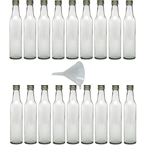 Viva Haushaltswaren - Botellas de Cristal (18 Unidades tapón de Rosca 250 ml rellenables Incluye Embudo Blanco de 9 cm de diámetro)