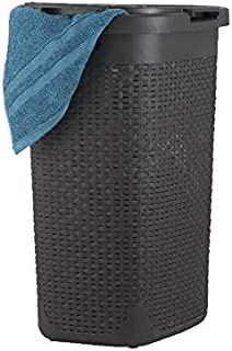 Laundry Hamper Basket With Lid 60 Liter - Deluxe Wicker Style Brown Color - 1.70 Bushel Bin With Cutout Handles To Storage Dirty Cloths in Washroom Bathroom, Or Bedroom. By Superio