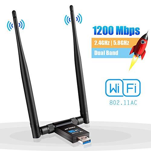 Clé WiFi Dongle Antenne USB Adaptateur pour PC sans Fil AC 1200Mbps 5GHz/867Mbps 2.4GHz/300Mbps Double Bande 5dBi Réseau Windows XP/Vista/7/8/10 Mac OS