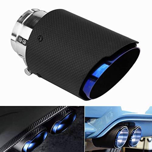 Iriisy Tubo de Silenciador de Escape de Fibra de Carbono para Coche Puntas de Escape Universales de 60mm - 63mm Garganta de Cola Salida del Tubo de Escape Trasero