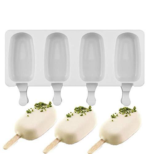 Gaccueil Mini Molde de Silicona para Helados Pop Ice Lolly Molde para Postres Helados Bandeja de Paletas Molde para Mousse de Helados con 10 Palos de Madera, Blanco