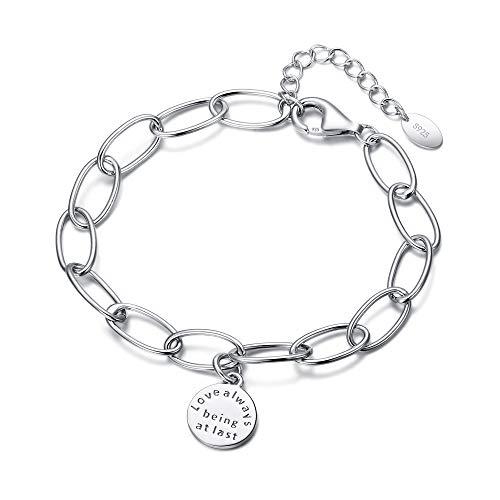 EVER FAITH Pulsera de plata de ley 925 con eslabones ovalados para mujer, regalo de cumpleaños para ella
