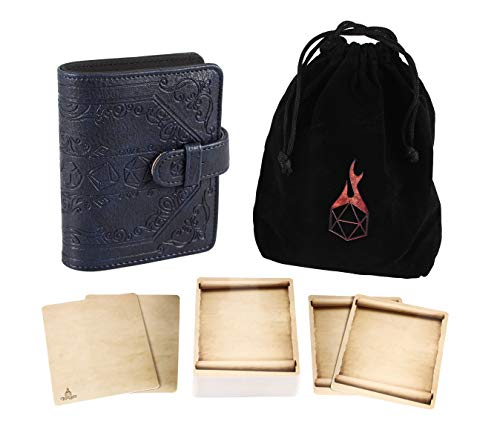 Forged Dice Co Spellbook of Incantations (Dice Edition) Spellbook Card Holder & Deck of Dry Erase Cards with Velvet Storage Bag - Storage for D&D Spell Book Monster Magic Item Cards